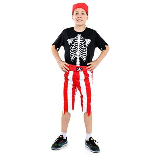 Pirata Esqueleto Masculino Infantil 23907-M Sulamericana Fantasias M 6/8 Anos