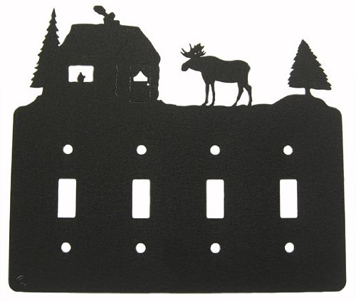 Moose & Cabin Quadruple Light Switch Plate Cover