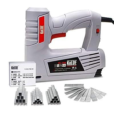 Electric Staple Gun Kit, KeLDE 120V Power Stapler/Brad Nailer with Adjustable Firing Mode Switch, Includes 1500pc T50 Staples and 500pc 15mm Brad Nails