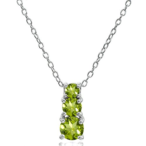 Sterling Silver Peridot Round Graduating Three Stone Pendant Necklace