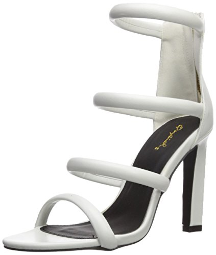 Qupid Women's Hurst-16 Heeled Sandal, White, 8 M US (Square Heel Sandal)