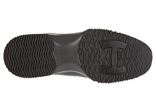 Hogan scarpe sneakers donna in pelle nuove interactive micro paillettes grigio