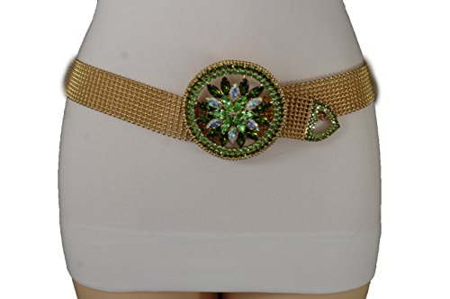TFJ Women Fashion Belt Hip Waist Gold Dressy Metal Fancy Green Flower Buckle S M