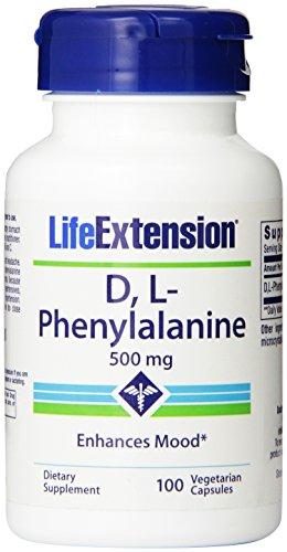 Life Extension D-L-phenyalanine Vegetarian Capsules, 500 mg, 100 Count