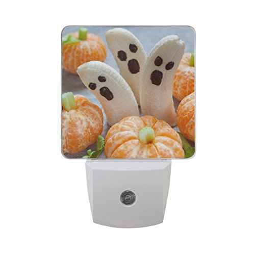 Naanle Set of 2 Healthy Fruit Halloween Horror Banana Ghost and Clementine Orange Pumpkin Auto Sensor LED Dusk to Dawn Night Light Plug in Indoor for Adults