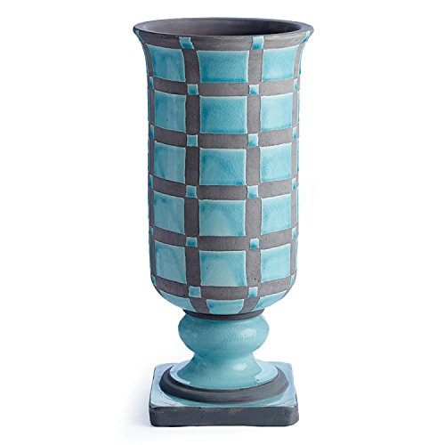 """- CC Home Furnishings 20"""" Turquoise and Gray Handcrafted Decorative Footed Ceramic Urn"""