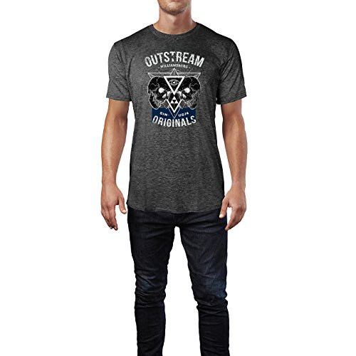 SINUS ART ® Outstream Williamsburg Originals 1986 Herren T-Shirts in dunkelgrau Fun Shirt mit tollen Aufdruck