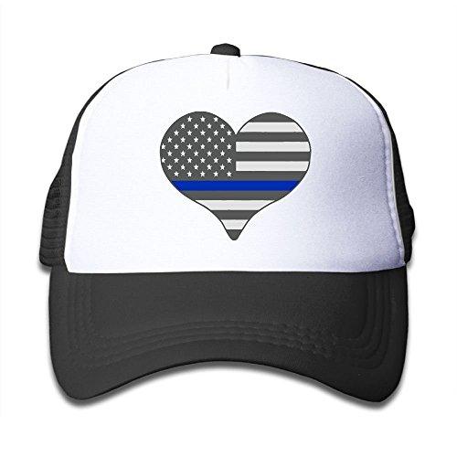 Police Trucker Hat - Kids Boys Girls Baseball Cap,I Love Police Thin Blue Line Mesh Cap Summer Trucker Cap
