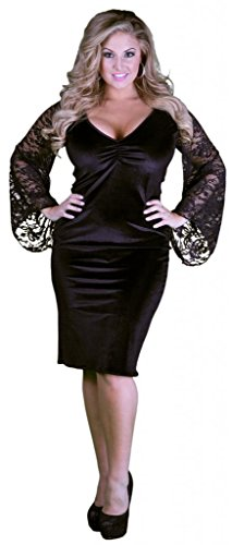 Delicate Illusions Women's Knee Length Plus Size Cocktail Dress 7X (26-28) Black by Delicate Illusions