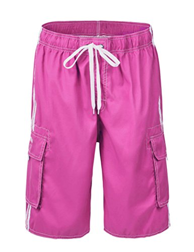 Nonwe Men's Summer Cargo Swim Trunk Board Shorts with Mesh Lining Rose 28