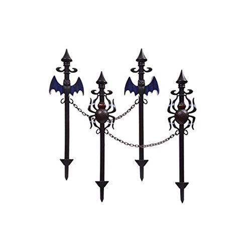 Spooky Halloween Lawn Stakes With Connecting Chain -Set of Four (Spiders and bats) 2 bats 2 spiders (Creepy Fence Border)