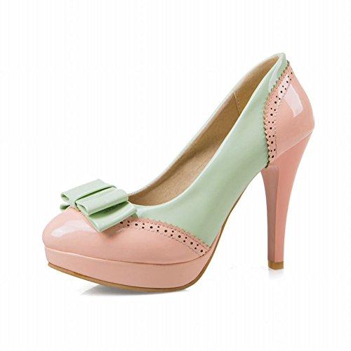 Scarpe Da Donna Con Plateau Tacco Alto A Stiletto In Lana Color Rosa