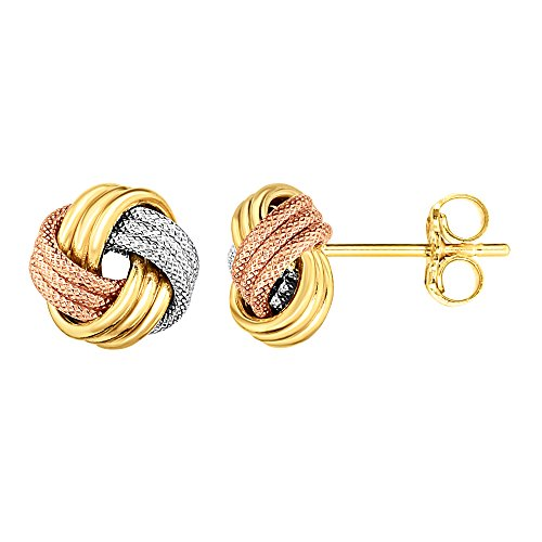 14K Tricolor Shiny And Textured Finish Love Knot Earrings