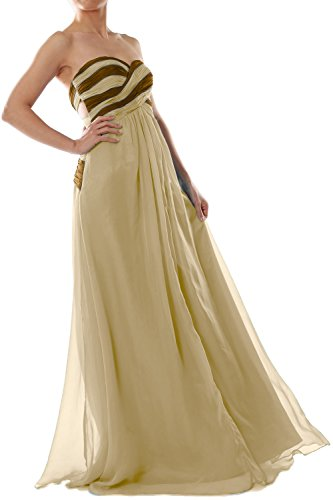 MACloth Women Strapless Two Tone Chiffon Long Prom Dress Evening Formal Gown Champagne
