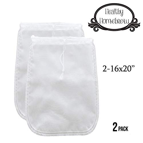 Mesh Strainer Bags for Almond, Cashew Nut Milks, Cold Brew Coffee, Homemade Greek Yogurt, Juicing, Home brewing - Reusable Extra Fine Nylon Extraction Sack (2 Pack - 16x20 - XL)