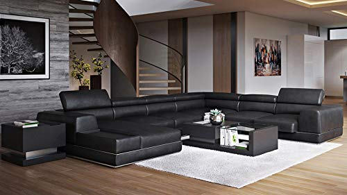 Zuri Furniture Wynn Black Leather Sectional Sofa with Adjustable Headrests - Left Chaise