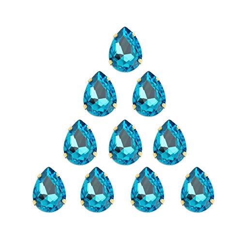 Choupee Sew On Rhinestone Tear Drop Crystal Rhinestones in Gold Setting 48 Pcs (Lake Blue, 13 X 18 MM)