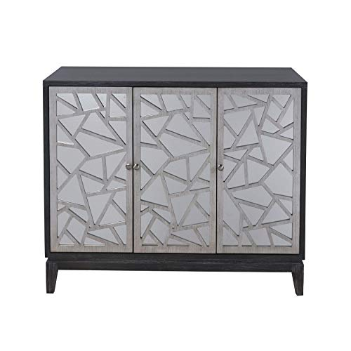 - Pulaski Fractal Accent 3-Door Mirrored Console in Black and Silver