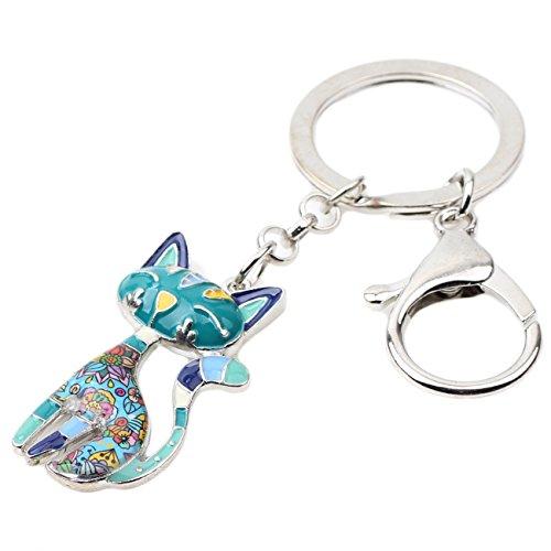 Bonsny Enamel Alloy Chain Cat Key Chains For Women Car Purse Handbag Charms (Blue) by BONSNY (Image #1)