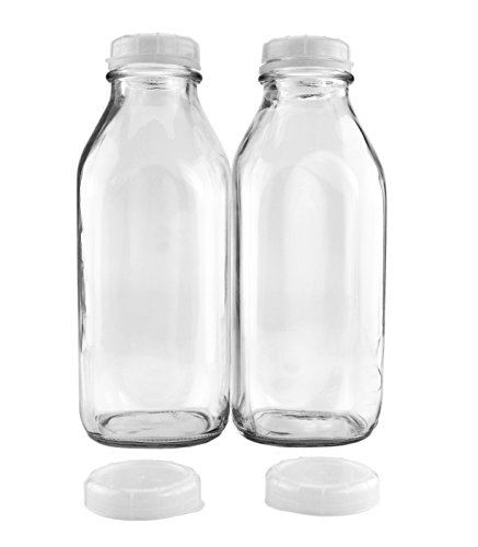 Glass Storage Bottles (Quart-Size Glass Milk Bottles (2-Pack); Clear Glass Square Vintage Style Jug Great for Storing Milk, Juice & Water in Fridge, Includes 2 Extra Lids)