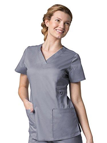 Maevn Women's Eon V-Neck Pocket Scrub Top, Pewter, Large (V-neck Welt Pocket)