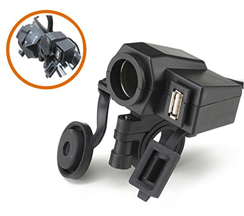 Waterproof USB Power Port DC Station,SinLoon Waterproof Motorcycle handlebar 12V Cigarette Lighter Power Adapter Charger,Smartphone GPS Mount,with 5V/2.1A USB Port Integration Outlet Socket - Black