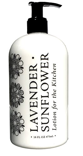 Greenwich Bay LAVENDER SUNFLOWER LOTION FOR THE KITCHEN, Enriched with Shea Butter, Cocoa Butter, Virgin Olive Oil, Sunflower and Lavender Oils 16 oz