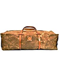 Waxed Canvas and Leather Large Duffel Bag - Travel Bag Overnight Duffel for Men and Women - The Hudson DuffelBag