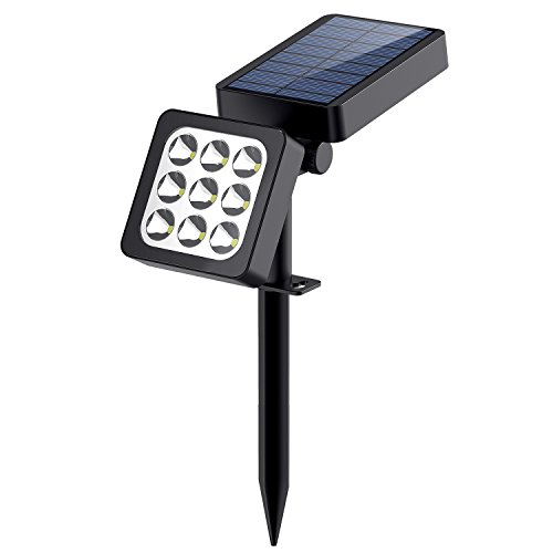 Solar Spotlights, 2-in-1 Landscape Solar Light, Waterproof Outdoor Adjustable Spotlights Wall Light Auto On/Off 9 LED Solar Security Night Lights for Patio Backyard Driveway Gardens Lawn Pool
