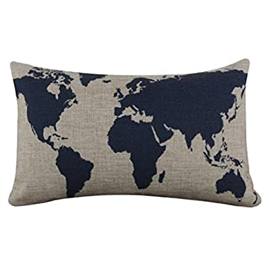 Tenworld Burlap Linen World Map Decorative Pillow Case Cushion Cover 20  x 12