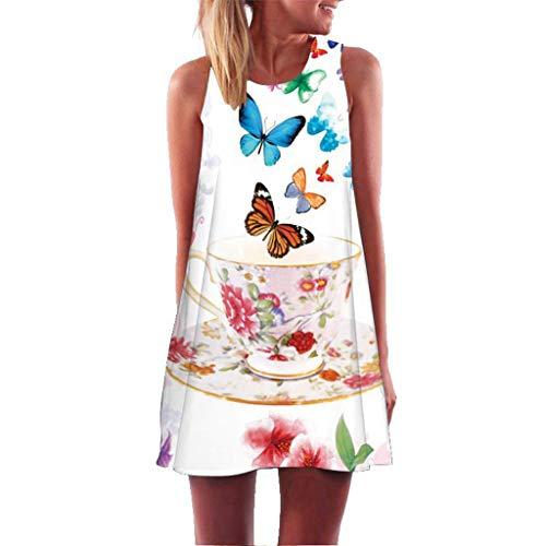 (BIBICAT Women Casual T-Shirt Summer Dresses Floral Bohemian Dress Swing Boho Sundress Sleeveless White)