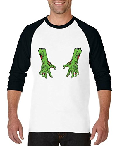 Blue Tees Zombie Hands Halloween Costume Fashion Party People Best Friends Couples Gifts Unisex Raglan Baseball T-Shirt XXX-Large White Black -