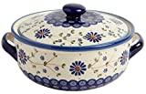 "Polish Pottery Floral Peacock Round Covered Serving Dish, 10.25""L x 8.5""W x 5.75""H w/ 60-oz Capacity (Peacock Floral Chain)"