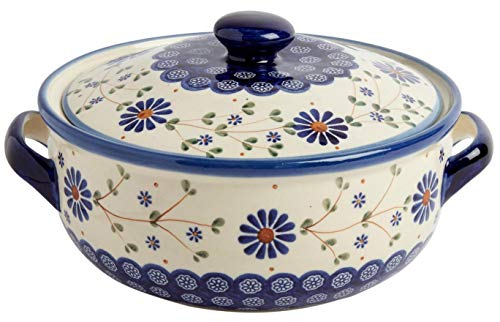 "Polish Pottery Floral Peacock Round Covered Serving Dish, 10.25""L x 8.5""W x 5.75""H w/ 60-oz Capacity (Peacock Floral Chain) by Ceramika Z Boleslawca"