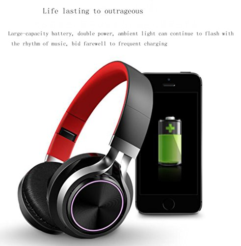 LILINA Wireless Light Bluetooth Headset Head-Mounted Game Sports Running Headset Computer Mobile Phone Universal Long Standby Card Music Bass Can Answer The Phone,Blackred by LILINA (Image #2)