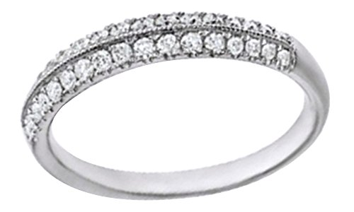 (Round Cut White Natural Diamond Knife Edge Anniversary Band Ring In 14K Solid Gold, Ring Size-5.5)
