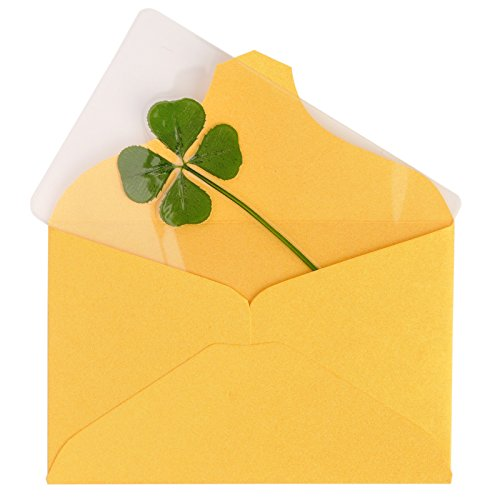 Vintage Repertory Genuine Real 4 Four-Leaf Green Clover St. Saint Patric's Day Bookmarks Irish Shamrock Good Luck Charm for Smartphone Wallet Case Amulet Purse Coating Gift Thanks Card L ()