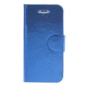SJT Lizardstripe PU Full Body Case with Card Slot and Stand for iPhone 5/5S (Assorted Colors) , Blue