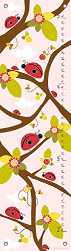 Oopsy Daisy Growth Charts Ladybug Branches Pink by Finny and Zook, 12 by 42-Inch ()