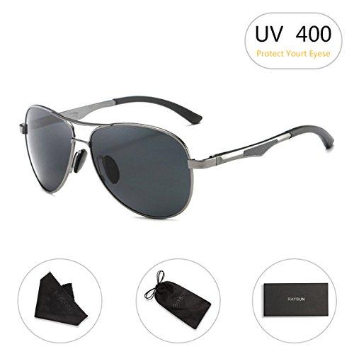 Aviator Sunglasses RAYSUN Aluminum Polarized Vintage Sun Glasses for Men Women UV 400 with Sun Glasses - Aviator Glass Sun
