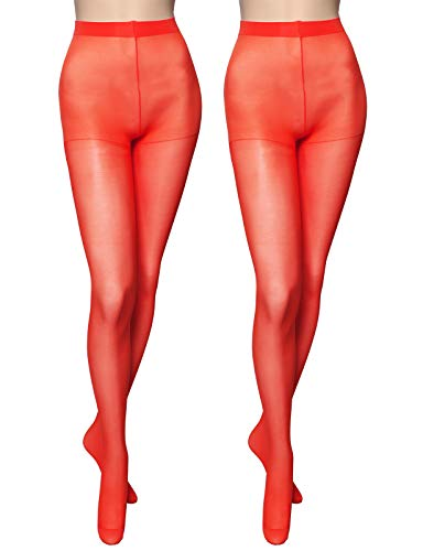 OSABASA Women's 20 Denier Semi Opaque Solid Color Footed Pantyhose Tights 2Pair RED US S-M/Asia M-XL -