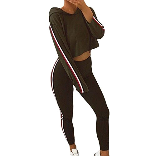 Challyhope Hote Sales, Women Tracksuit Sports Casual Pullover Sweatshirt Cropped Tops+Pants Sets (Army Green, M) by Challyhope