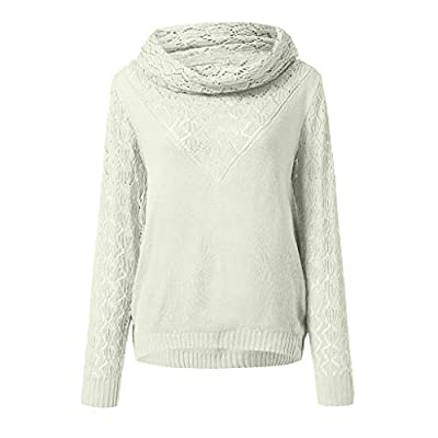Kulywon Women Casual Turtleneck Long Sleeve Solid Hollow Out Sweater Pullovers