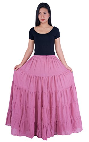 Lannaclothesdesign Women's Cotton Long Ruffle Full Circle Long Skirts Maxi Skirt (One Size, Mauve)