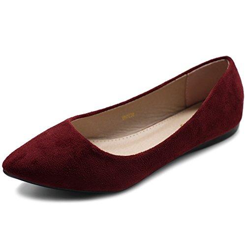 Ollio Women's Ballet Comfort Light Faux Suede Multi Color Shoe Flat ZM1038(7.5 B(M) US, Burgundy)