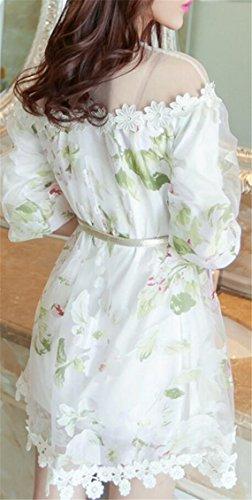Shoulder 1 Floral Women Sleeve See Crew Half Through Jaycargogo Dresses Bold Neck BPOffq