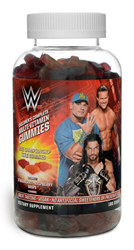 WWE Championship Title John Cena Kids & Toddlers Gummy Complete Daily Multivitamins by Guardian Essentials. Soft Texture, 3 Great Berry Flavors! Kid & Parent Approved! Vegetarian, Vegan (180 Count)
