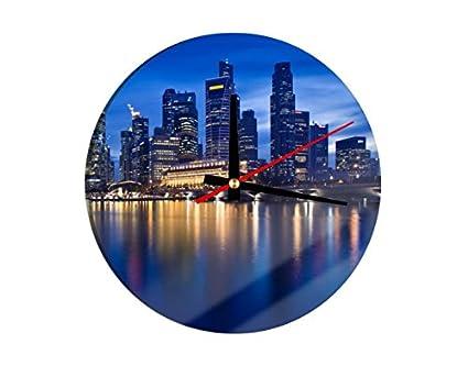 Cristal Reloj Skyline de Singapur, 30 x 30 cm