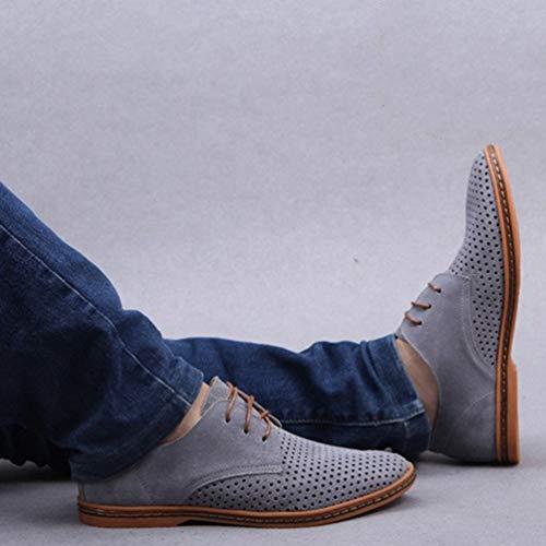 Scarpe Gli Uomini Oxford di Respirabile in Pelle da Business Grigio Scarpe Ginnastica OUTS Uomini per Scarpe Vestito Brevetto Hollow Punta 6dqdg