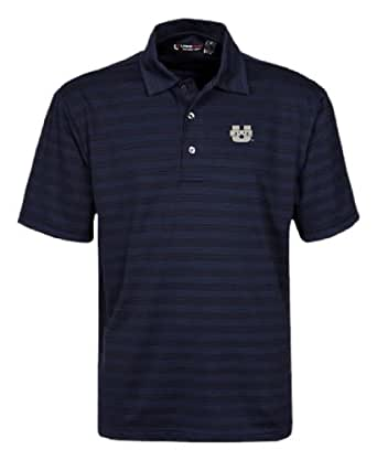 NCAA Men's Utah State Aggies Short Sleeve Solid Texture Stripe Polo (Classic Navy, X-Small)